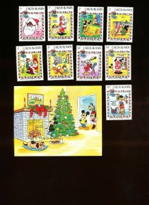 CAICOS ISLANDS - Sc 22-31, SG 30-38 & MS11 VFMNH. DISNEY Christmas Santa - 1983