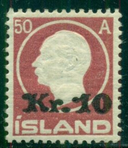 ICELAND #140 (122) 10kr on 50aur Ovpt, og, LH, VF, Scott $300.00