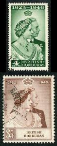 British Honduras SG164/5 1948 Silver Wedding CDS