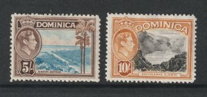 Dominica the MH 5/- & 10/- KHVI from 1938