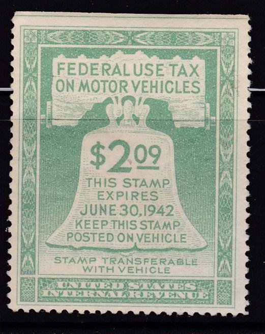 Federal use Tax on Motor Vehicles. 1941 $2.09 green  VF/NH