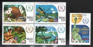 Palau # 109-12, C17 ~ Cplt Set of 5 ~ Peace Year ~ Mint, NH