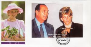 Turkmenistan 1997 YT#Bl.8 Princess Diana President Jacques Chirac SS IMPERF.FDC.