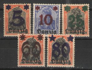 Germany - Danzig 1920 Sc# 19-23 MNH VG/F - Surcharged issues
