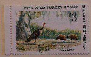 United States Revenue Wild Turkey Stamp 1976 MNH