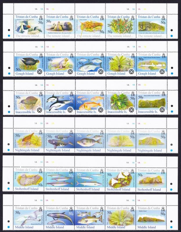 Tristan da Cunha Birds Fish Marine Life Plants 6 strips Top Margins COMPLETE 30v