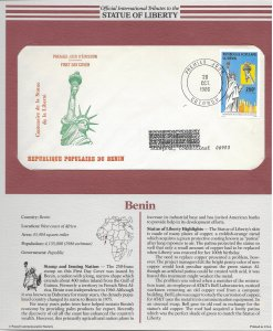 Statue of Liberty Benin. #635. 1986  FDC with write up.