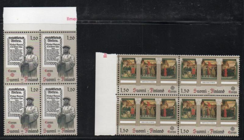 Finland Sc 668-9 1982 Europa stamp set  blocks of 4 mint NH