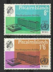 Pitcairn Island # 62-63  WHO Headquarters    (2) Mint NH