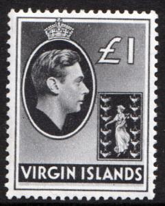 British Virgin Islands 1938 £1 Black Chalk SG121 Mint Never Hinged MNH UMM