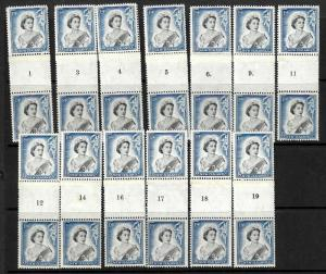 NEW ZEALAND 1955 QEII 1/6 COILS SHORT SET 13 MNH