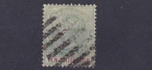 NIGERIA  LAGOS  1887 - 02   S G 41  10/- GREEN & BROWN USED  CAT £250