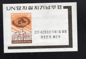 KOREA #316a  1960  U.N  CENTENARYMINT  VF NH  O.G  IMP.  S/S