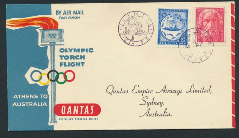1956 Qantas Olympic torch Flight Athens Melbourne AAMC 1362 SPECIAL - please ...