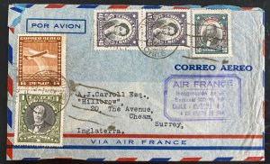 1936 Valparaiso Chile Airmail First Air France Flight Cover To Cheam England
