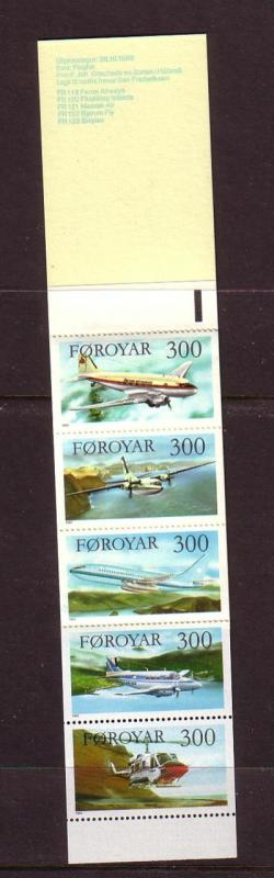 Faroe Islands Sc 138a 1985 Airplane Stamp booklet mint NH