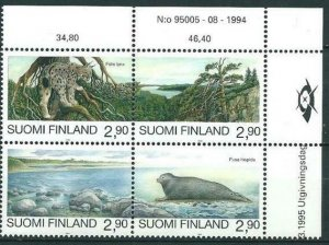 Finland 1995 #960 MNH. Nature protection, animals, block