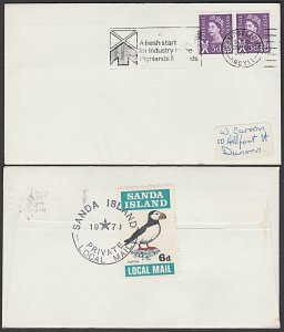 GB SCOTLAND 1971 SANDA ISLAND 6d puffin on cover to Dunoon..................Q943