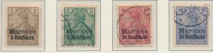 Germany, Offices In Morocco Stamps Scott #7 To 10, Used, #7 Is Mint Hinged - ...