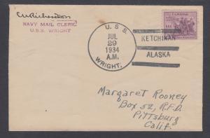 USS WRIGHT, 1934 KETCHIKAN / ALASKA cancel, from mail clerk