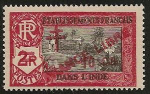 French India #202 VF NH 1943 10ca on 2r Kali Temple