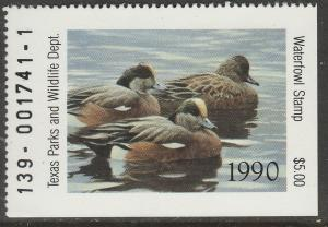 U.S.-TEXAS 10, STATE DUCK HUNTING PERMIT STAMP. MINT, NH. VF