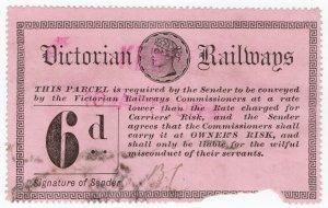 (I.B) Australia - Victoria Railways : Parcels Stamp 6d