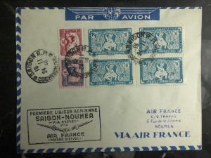 1939 Saigon Vietnam to New Caledonia First Flight Cover 500 Flown FFC Air France