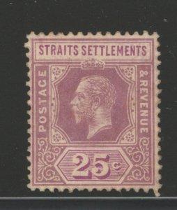 Straits Settlements 1912 King George V 25c Scott # 161 MH
