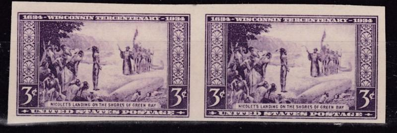 United States 1948 Wisconsin Horizontal Imperf Pair  VF/NH