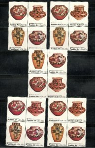 1706-09 Pueblo Pottery Wholesale Lot Of 5 Blocks (20 Stamps) MNH FREE SHIPPING