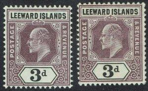 LEEWARD ISLANDS 1905 KEVII 3D BOTH PAPERS WMK MULTI CROWN CA