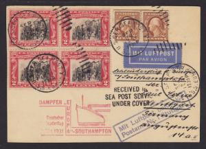 US Sc 354 Coil Pair, 651 Block on 1931 Sea Post Card VF