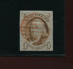 Scott 1 Franklin Imperf Used Stamp with Nice Cancel (Stock 1-A15)