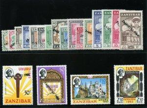 Zanzibar 1964 QEII set complete superb MNH. SG 394-413. Sc 285a-304b.