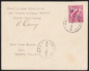 NEW GUINEA 1935 Wau-Madang First Flight Cover . Signed by Pilot . ONLY 70 FLOWN!