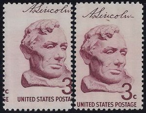 1114 - 2Way Misperf Error / EFO Abraham Lincoln Bust Borglum Mint NH Read