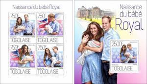 Great Britain Family Prince George William Kate Middleton Togo MNH stamp set