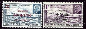 St Pierre and Miquelon B11-12 MLH 1944 surcharges    (ap4350)
