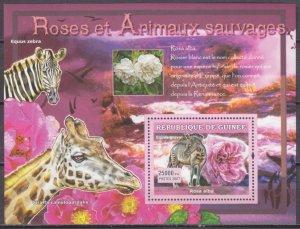2007 Guinea 4729/B1175 Rose and zebra 7,00 €