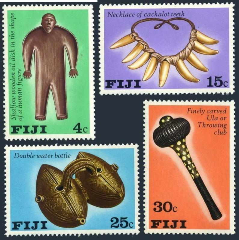 Fiji 389-392,Mnh.michel 379-382. Artifacts 1978.Wooden Huile Plat Collier