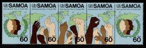 SAMOA QEII SG706a, 1985 intl youth year strip of 5, NH MINT.