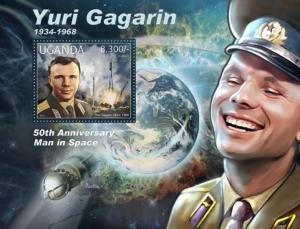 Uganda 2012 SPACE YURI GAGARIN Vostok 1 s/s Perforated Mint (NH)