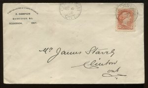 Canada 3 Cent Small Queen on 1890 cacheted Goderich ON cover to Clinton