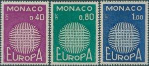 Monaco 1970 SG988-990 Europa flaming sun set MNH