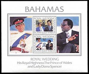 Bahamas 491a, MNH, Charles and Diana Royal Wedding souvenir sheet