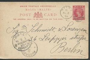 MALTA 1894 QV 1d postcard commercially used to Germany.....................60994