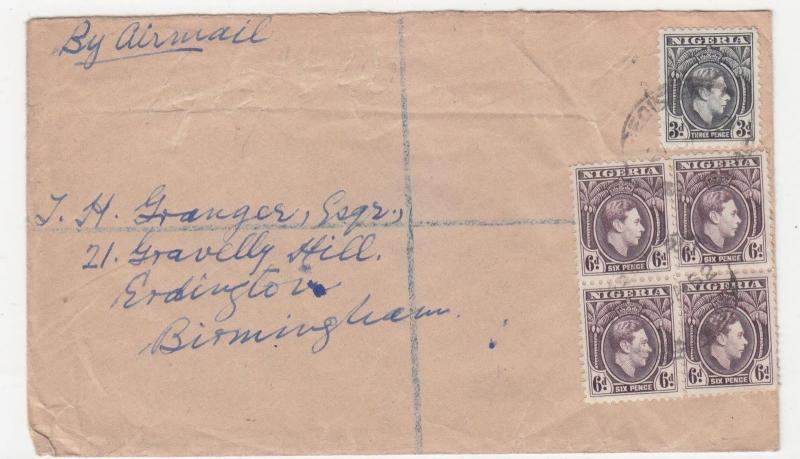 NIGERIA, 1952 Airmail cover, KGVI 3d., 6d. (4), Lagos to GB.