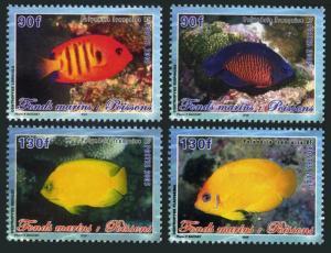 Fr Polynesia 893-896,896a,MNH. Marine life,2005.Angelfish.Sharks,Dolphin,Turtle.