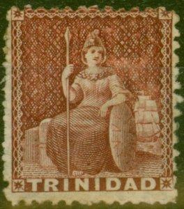 Trinidad 1863 (1d) Lake SG69a Wmk Sideways Good Mtd Mint